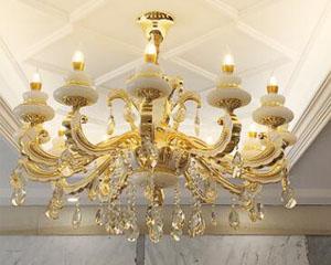 欧式客厅卧室别墅锌合金天然白玉石水晶吊灯